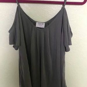 NWT Dusty Blue Off the Shoulder Top